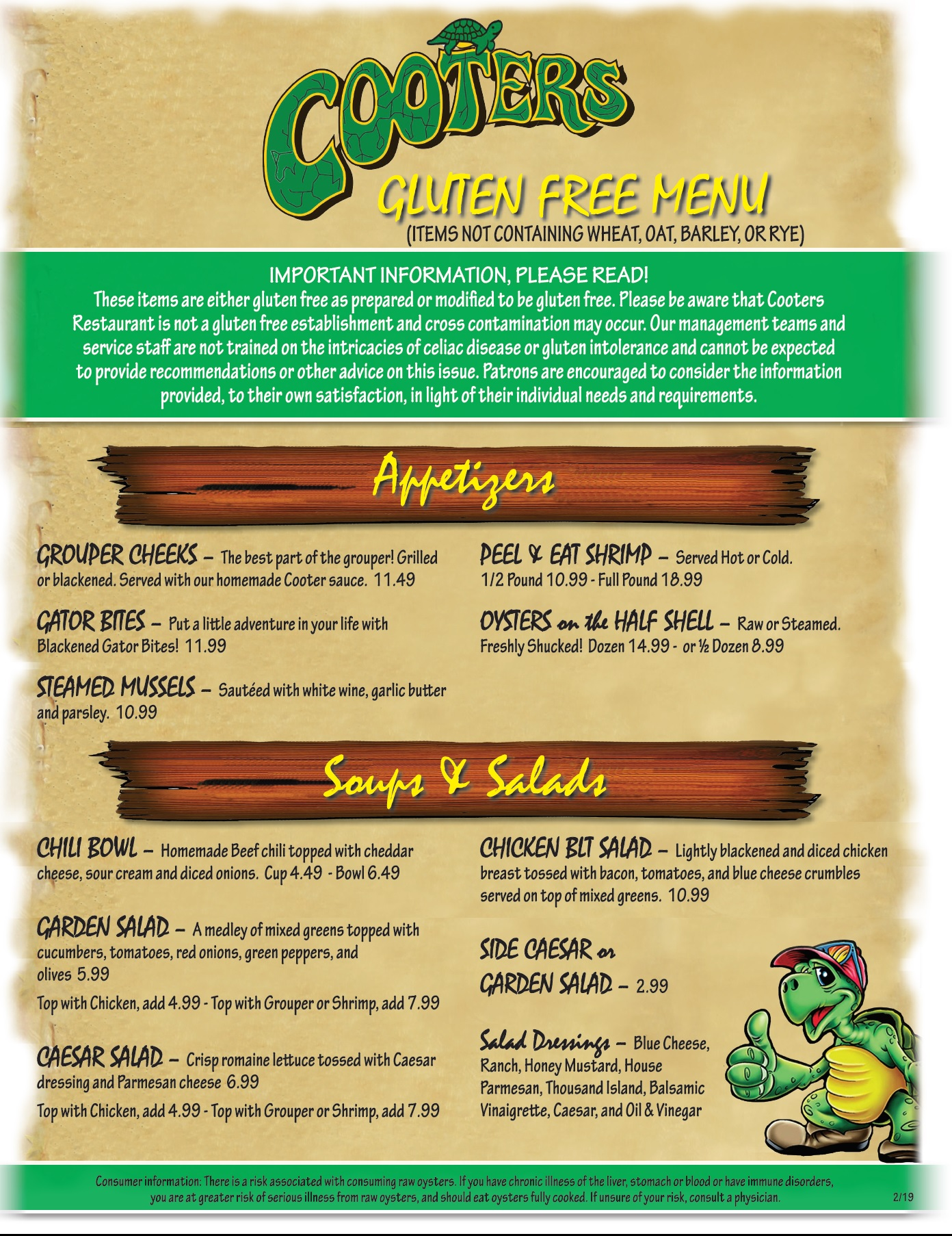 Cooters Restaurant and Bar Menu - Come to Cooters for the